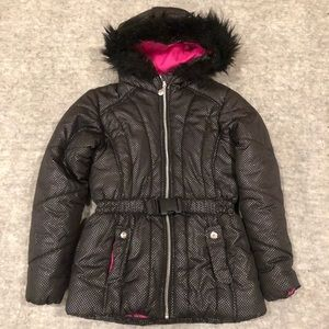 Big Girls hooded quilted jacket with faux fur trim